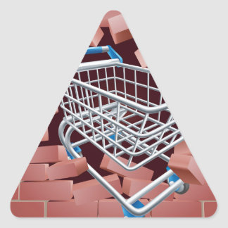 Shopping Cart Trolley Breaking Wall Triangle Sticker