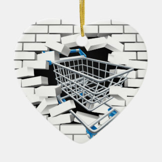 Shopping Cart Trolley Concept Ceramic Heart Decoration
