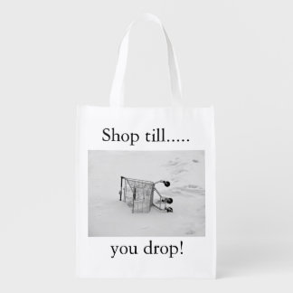 Shopping cart with slogan reusable grocery bag
