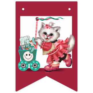 SHOPPING CAT BUNTING BANNER