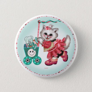 SHOPPING CAT  Button  Standard, 2¼ Inch