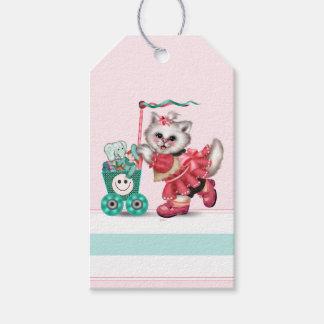 SHOPPING CAT CARTOON Gift Tag