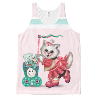 SHOPPING CAT  CUTE AllOver Printed Unisex Tank