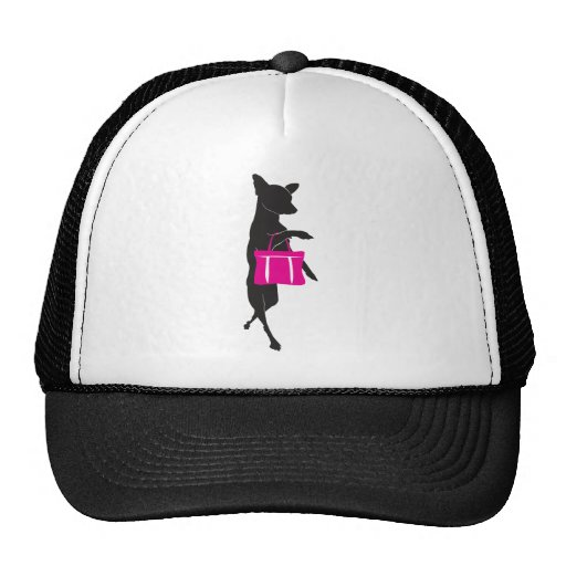 Shopping Chihuahua with Handbag Silhouette Hat