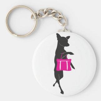 Shopping Chihuahua with Handbag Silhouette Key Chain