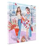 Shopping girls in Paris - Canvas Canvas Print