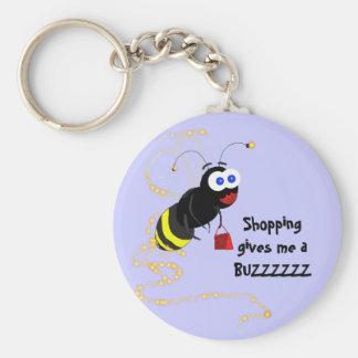 Shopping gives me a BUZZZZZZ Basic Round Button Key Ring