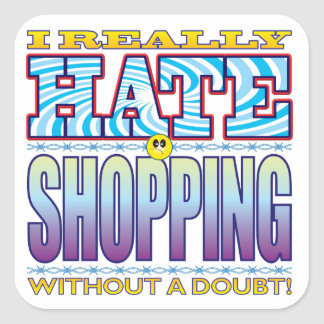 Shopping Hate Face Square Sticker