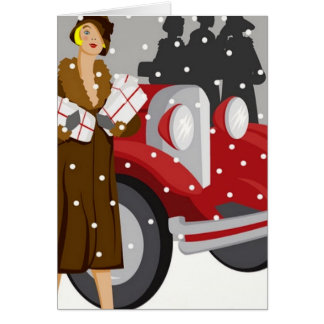 Shopping in the Snow Greeting Card