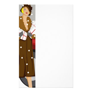 Shopping in the Snow Customized Stationery