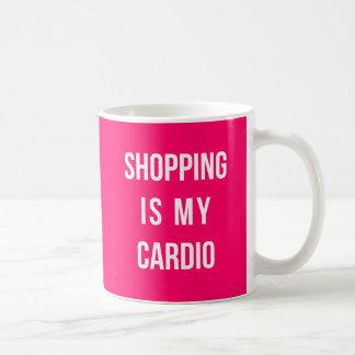 Shopping Is My Cardio on Hot Pink Basic White Mug