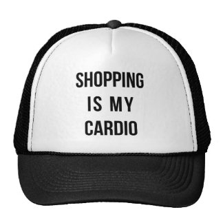 Shopping Is My Cardio on White Mesh Hat