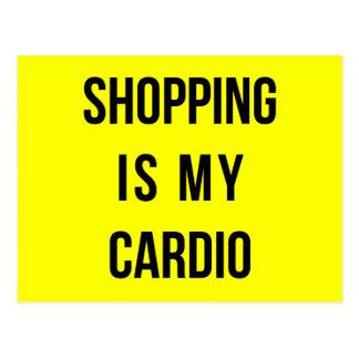 Shopping Is My Cardio on Yellow Postcard