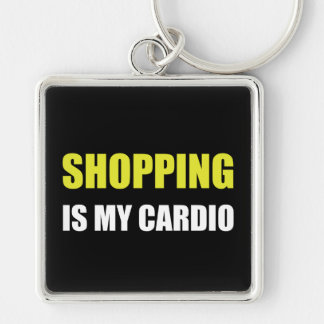 Shopping Is My Cardio Silver-Colored Square Key Ring