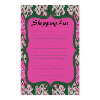 Shopping List pink green pattern Stationery Design