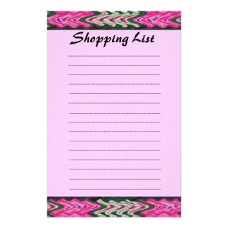 Shopping List pink green pattern Custom Stationery