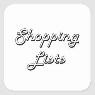 Shopping Lists Classic Retro Design Square Sticker