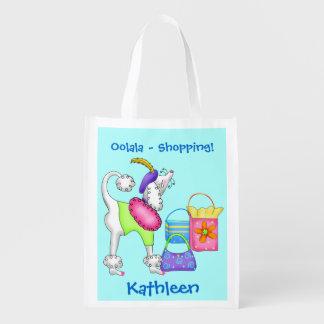 Shopping Poodle Whimsy Dog Art Turquoise