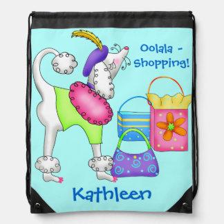 Shopping Poodle Whimsy Dog Art Turquoise Drawstring Backpacks