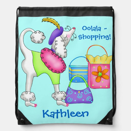 Shopping Poodle Whimsy Dog Art Turquoise Drawstring Bags
