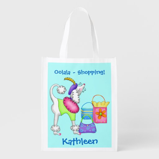 Shopping Poodle Whimsy Dog Art Turquoise Grocery Bag