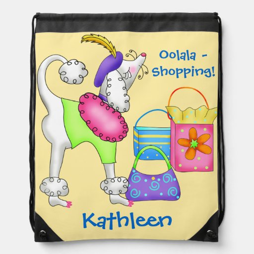 Shopping Poodle Whimsy Dog Art Yellow Cinch Bags