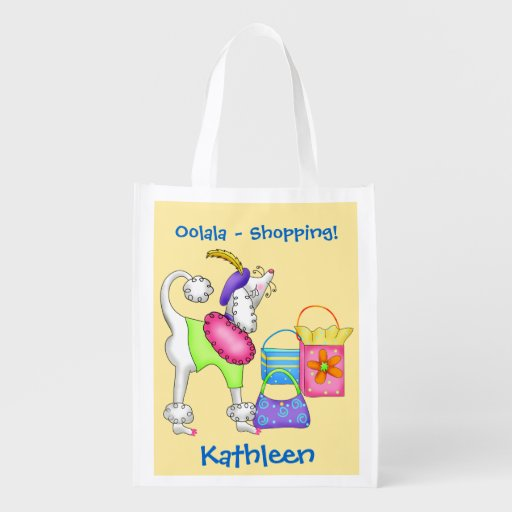 Shopping Poodle Whimsy Dog Art Yellow Grocery Bag