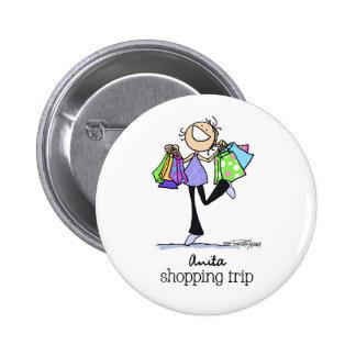 Shopping Sale Lady Pinback Button