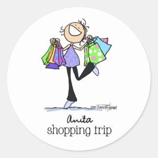 Shopping Sale Lady Round Sticker