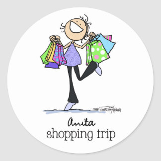Shopping Sale Lady Round Stickers