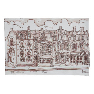 Shopping Street | Bailleul, France Pillowcase