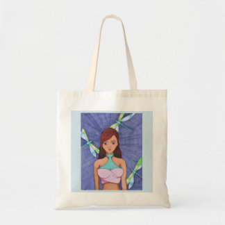 shopping tote with dragonfly girl print