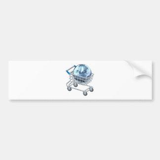 Shopping trolley globe bumper stickers
