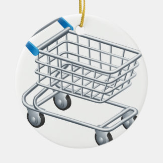 Shopping trolley icon round ceramic decoration