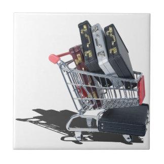 ShoppingCartofBriefcases061315 Small Square Tile