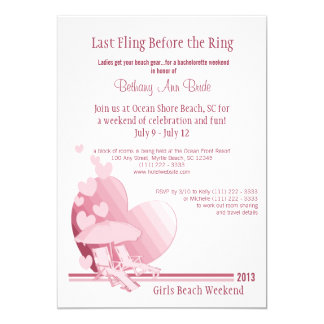 """Shore Love"" Bachelorette Weekend 13 Cm X 18 Cm Invitation Card"