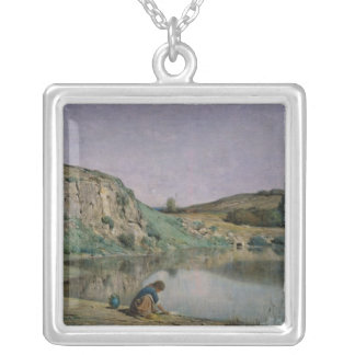 Shore of Lake Bourget Square Pendant Necklace