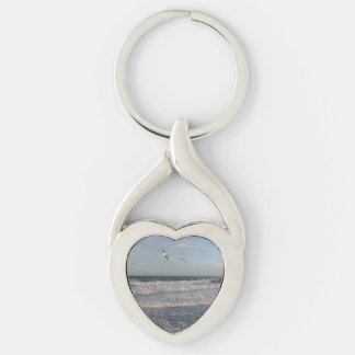 Shore & Seagulls Heart Keychain Silver-Colored Twisted Heart Key Ring