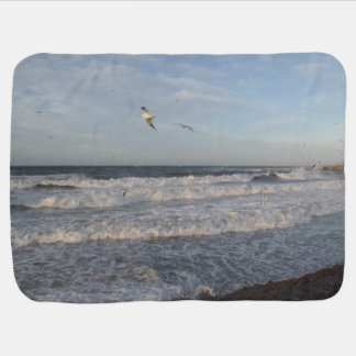 Shore & Wawes & Seagulls Baby Blanket