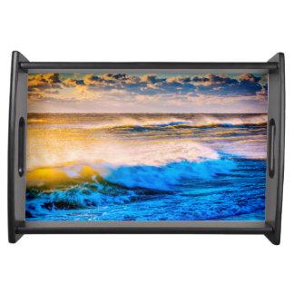Shoreline scenic at sunrise serving tray