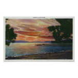 Shoreline Sunset View with Pier Print