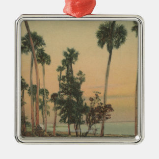 Shoreline view of Indian River with Palm Trees Christmas Ornament