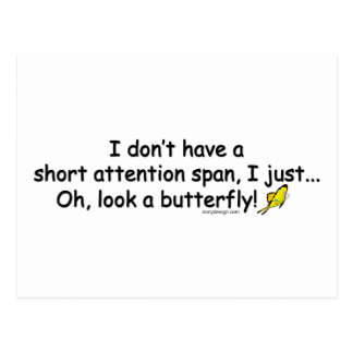 Short Attention Span Butterfly Postcard