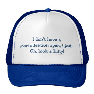 Short Attention Span Kitty (blue) Cap
