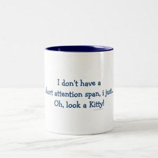 Short Attention Span Kitty (blue) Two-Tone Coffee Mug