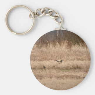 Short-eared Owl Basic Round Button Key Ring