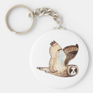 Short eared owl flying by key ring