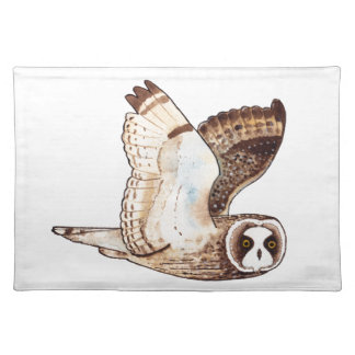Short eared owl flying by place mats