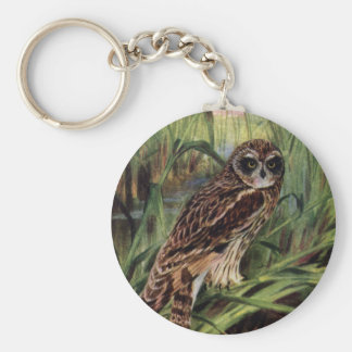 Short-eared Owl in Wetlands Basic Round Button Key Ring