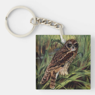 Short-eared Owl in Wetlands Single-Sided Square Acrylic Key Ring